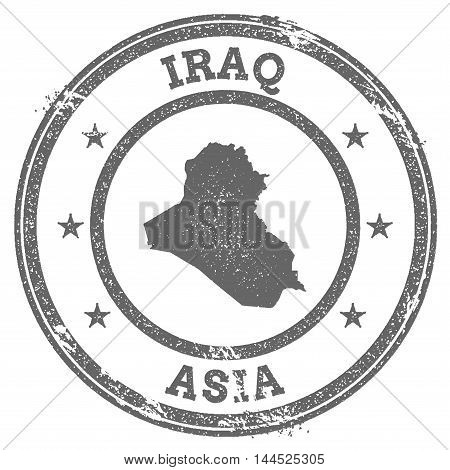 Iraq Grunge Rubber Stamp Map And Text. Round Textured Country Stamp With Map Outline. Vector Illustr