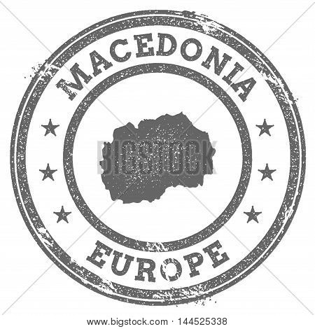 Macedonia, The Former Yugoslav Republic Of Grunge Rubber Stamp Map And Text. Round Textured Country