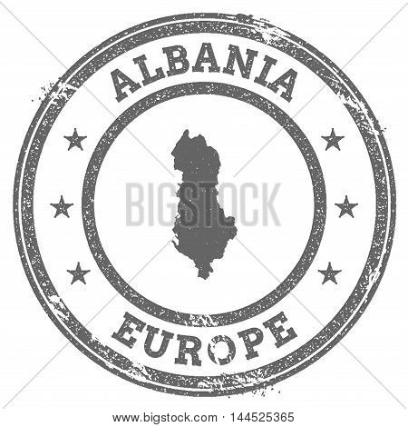 Albania Grunge Rubber Stamp Map And Text. Round Textured Country Stamp With Map Outline. Vector Illu