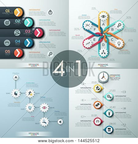 Set of 4 modern infographics options banner with abstract paper shapes and icons. Vector. Can be used for web design and workflow layout