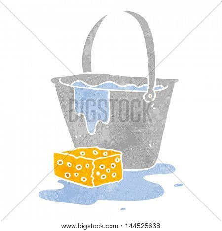 freehand retro cartoon bucket of soapy water