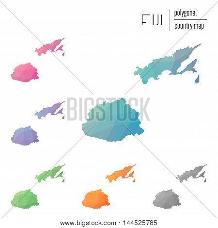 Set Of Vector Polygonal Fiji Maps. Bright Gradient Map Of Country In Low Poly Style. Multicolored Fi