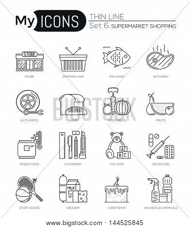 Modern thin line icons set of supermarket shopping process. Premium quality outline symbol collection. Simple mono linear pictogram pack. Stroke vector logo concept, web graphics
