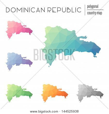 Set Of Vector Polygonal Dominican Republic Maps. Bright Gradient Map Of Country In Low Poly Style. M