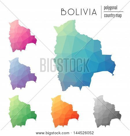 Set Of Vector Polygonal Bolivia Maps. Bright Gradient Map Of Country In Low Poly Style. Multicolored