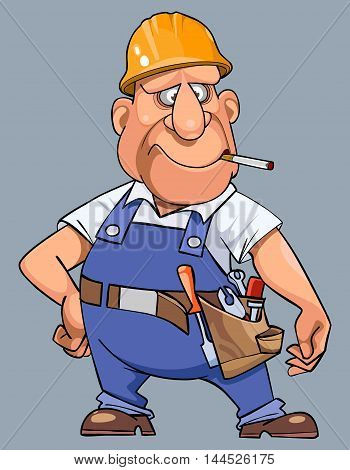 cartoon man in overalls with tools and helmet