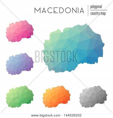 Set Of Vector Polygonal Macedonia, The Former Yugoslav Republic Of Maps.. Bright Gradient Map Of Cou
