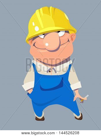 cartoon smiling man worker in the yellow helmet and blue overalls