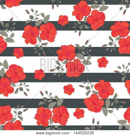 Hibiscus Flower Seamless Pattern with Stripes . Summer Ornament. Gypsy Stile.