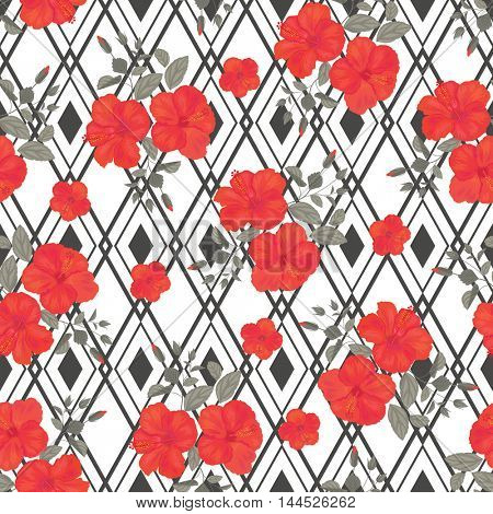 Hibiscus Flower Seamless Pattern with Geometric Shape . Summer Ornament for Fabric. Gypsy Stile.
