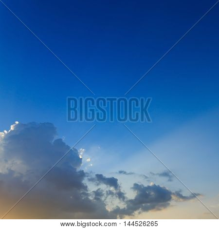 Light Of Sunbeams Through Clouds, Light Rays On Dramatic Sunset Sky Background
