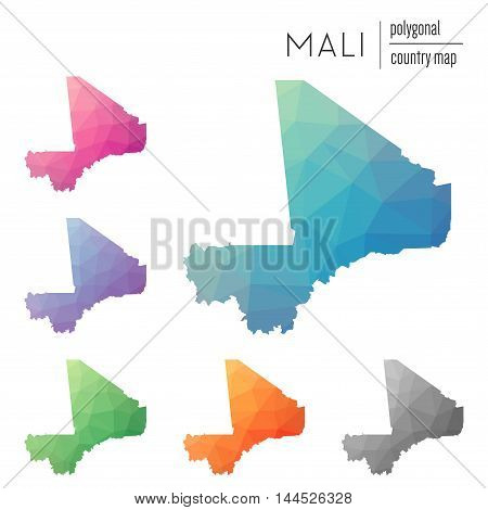 Set Of Vector Polygonal Mali Maps. Bright Gradient Map Of Country In Low Poly Style. Multicolored Ma
