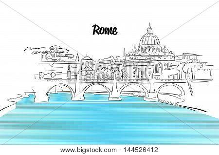 Rome Skyline Vacation Outline Sketch