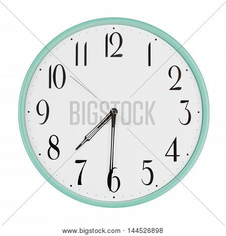 Round office clock shows half past seven