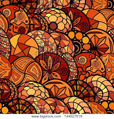 hand drawn vector ethnic seamless pattern in warm colors