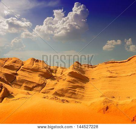 Sand ridge and sand dunes sahara