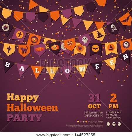Halloween Background with Garland Decorations. Vector Illustration. Flags in Traditional Colors with Holiday Symbols. Falling Colorful Confetti.