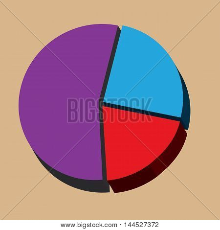 Pie chart infographics isolated with three sections.