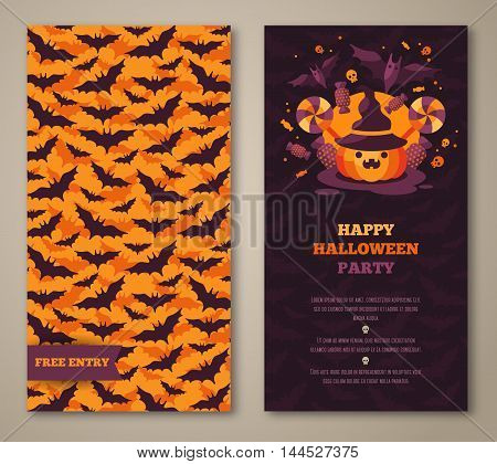 Halloween two sides poster, flyer or menu design. Vector illustration. Scary party invitation with pumpkin and bats pattern. Place for your text message.