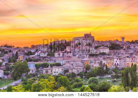 Beautiful small town of Valensole at sunset time. Provence, France
