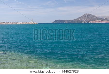 view of Adriatic Sea and the lighthouse.