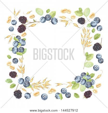 Frame with Oats, Blueberries and Blackberries, vector illustration in vintage style with berries and corn, symbol of healthy eating.