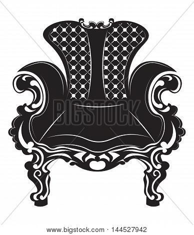 Vintage Baroque armchair. French Luxury rich carved ornaments decorated furniture. Vector Victorian Royal Style structure