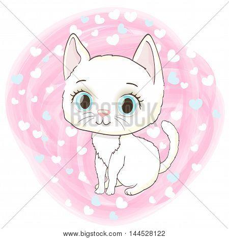 cute white kitten on romantic background with hearts. cartoon vector illustration
