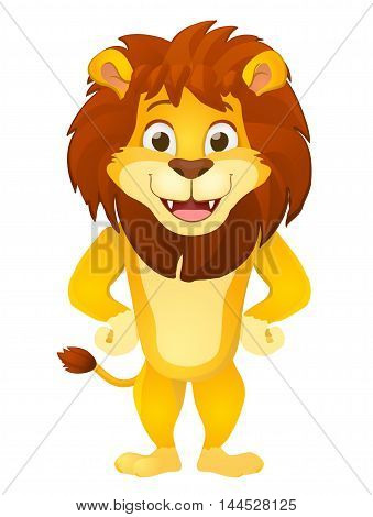 cartoon lion character smiling and standing on white background. vector illustration