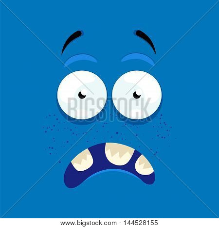 Cartoon face with a scared expression on a blue background.