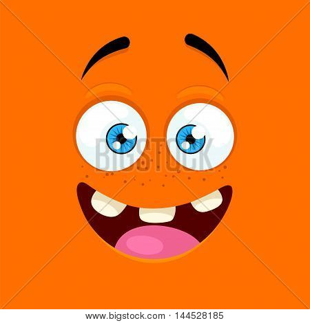Cartoon face with an enthusiastic expression on orange background.