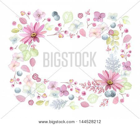 Floral frame with flowers, leaves and branches, vector illustration in vintage style.
