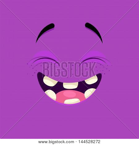 Cartoon face with a laughing expression on purple background.