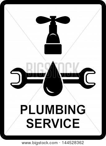 black icon of plumbing service with water drop and spanner