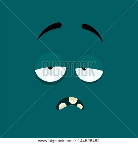 Cartoon face with a tired expression on dark green background.