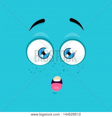 Cartoon face with a surprised expression on a blue background.