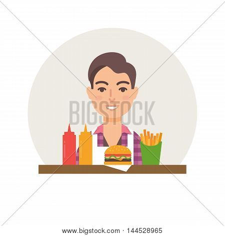 Small business - burger restaurant vector illustration flat style