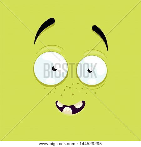 Cartoon face with a smiling expression on green background.