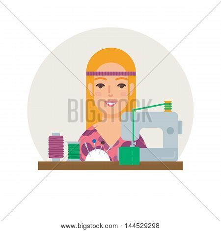 Hobby - sewing. Seamstress vector illustration flat style