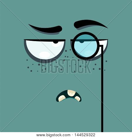 Cartoon face with haughty expression on green background.