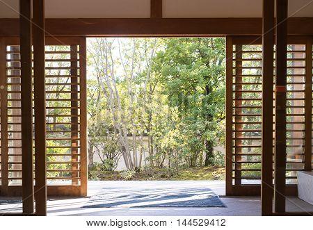 Japanese room Wooden door to Garden with light bright
