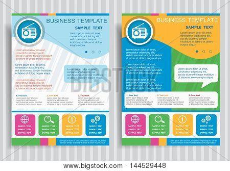 Retro Radio Vector Icon On Vector Brochure Flyer Design Layout Template