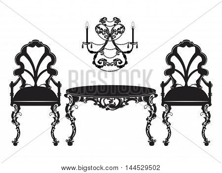 Vintage Baroque luxury ornamented furniture set. Baroque style chairs and table. Vector sketch