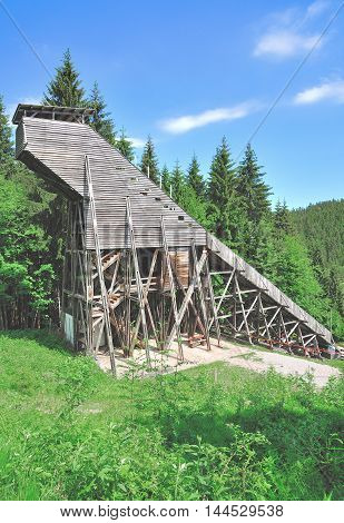 historic wooden Ski Jump of Oberhof in thuringian Forest,Thuringia,Germany