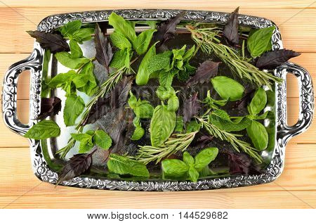 Mix of herbs and spices on silver tray
