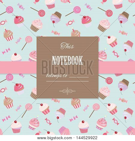 Cute template. Can be used for scrapbook design birthday invitation card notebook or cookbook cover. Seamless pattern included.