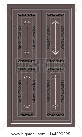 Door Entrance in classic style. Vector architectural structure. Vector engraved ornamented architectural template