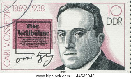 GERMANY - CIRCA 1989: a stamp printed in the Germany shows Carlvon Ossietzky, circa 1989