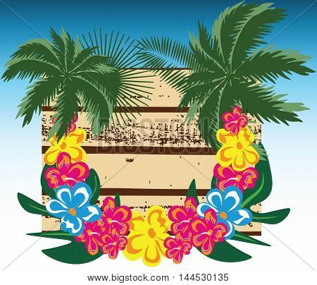 Summer Wood Board Vector. Card with Palm leaves and tropic flowers wreath. Hawaii exotic Card. Vector Holiday Tropical Exotic background