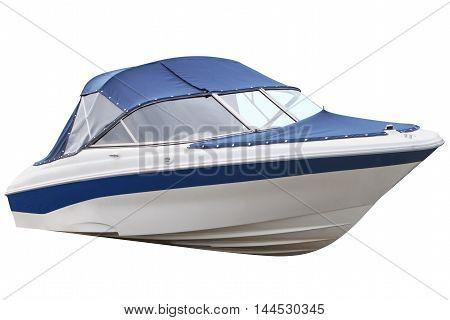 Blue motor boat isolated on white background.